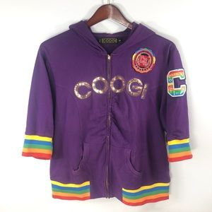 COOGI Purple Full Zip 3/4 Sleeve Jacket 3X